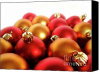 Celebrating Canvas Prints - Gold and Red Xmas Balls Canvas Print by Carlos Caetano