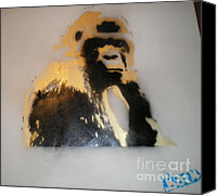 Gorilla Painting Canvas Prints - Gold Back Gorilla Canvas Print by Barry Boom     