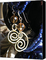Handcrafted Jewelry Canvas Prints - Gold Glass Brass Earrings Canvas Print by Beth Sebring
