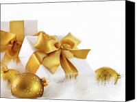Magic Canvas Prints - Gold ribboned gifts with christmas balls  Canvas Print by Sandra Cunningham