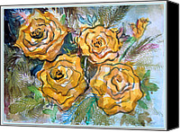 Floral Drawings Canvas Prints - Gold Roses Canvas Print by Mindy Newman