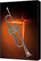 Canvas Wrap Canvas Prints - Gold Trumpet with Cross on Orange Canvas Print by M K  Miller