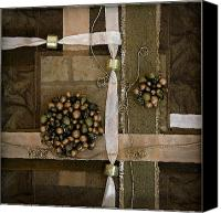 Ball Mixed Media Canvas Prints - Gold Yarn Canvas Print by Sveta Shved
