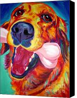 Dog Art Canvas Prints - Golden - My Favorite Bone Canvas Print by Alicia VanNoy Call