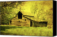 Rural Scenes Mixed Media Canvas Prints - Golden Barn Canvas Print by Julie Hamilton