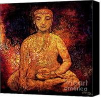 Asian Art Canvas Prints - Golden Buddha Canvas Print by Shijun Munns