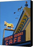 Burro Canvas Prints - Golden Burro Cafe Vintage Sign Canvas Print by The Forests Edge Photography - Diane Sandoval