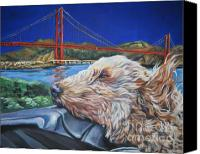 Golden Gate Canvas Prints - Golden Doodle Cruising San Fransisco Canvas Print by Lee Ann Shepard