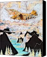 Fantasy Tapestries - Textiles Canvas Prints - Golden Eagle Flies Above Clouds and Mountains Canvas Print by Carol  Law Conklin