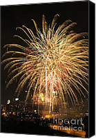 Pyrotechnics Canvas Prints - Golden Fireworks Over Minneapolis Canvas Print by Heidi Hermes