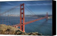 Golden Gate Bridge Tower Blue Sky Canvas Prints - Golden Gate Canvas Print by Andreas Freund