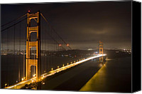 San Francisco Photo Canvas Prints - Golden Gate at night Canvas Print by Mike Irwin