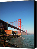 Golden Gate Bridge Tower Blue Sky Canvas Prints - Golden Gate Bridge 2 visit www.AngeliniPhoto.com for more Canvas Print by Mary Angelini