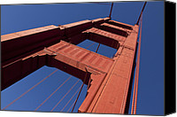 Golden Gate Bridge Tower Blue Sky Canvas Prints - Golden Gate Bridge at an angle Canvas Print by Garry Gay