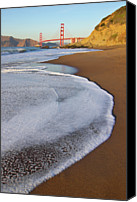 No People Canvas Prints - Golden Gate Bridge At Sunset Canvas Print by Sean Stieper