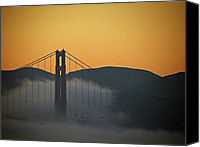 Golden Gate Bridge Tower Blue Sky Canvas Prints - Golden Gate Bridge at Sunset visit www.AngeliniPhoto.com for more Canvas Print by Mary Angelini