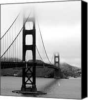 Black And White Canvas Prints - Golden Gate Bridge Canvas Print by Federica Gentile