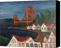 Sausalito Painting Canvas Prints - Golden Gate Bridge Canvas Print by Kyle McGuigan