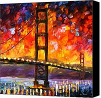 Afremov Canvas Prints - Golden Gate Bridge  Canvas Print by Leonid Afremov