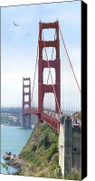 San Francisco Digital Art Canvas Prints - Golden Gate Bridge Canvas Print by Mike McGlothlen
