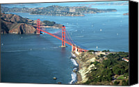 Travel Canvas Prints - Golden Gate Bridge Canvas Print by Stickney Design