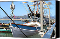 Hyde Street Pier Canvas Prints - Golden Gate Bridge Through The Balclutha . A 1886 Square Rigged Cargo Ship At The Hyde Street Pier Canvas Print by Wingsdomain Art and Photography