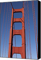 Golden Gate Bridge Tower Blue Sky Canvas Prints - Golden Gate Bridge Tower Canvas Print by Garry Gay