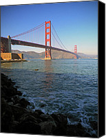 Golden Gate Bridge Tower Blue Sky Canvas Prints - Golden Gate Bridge visit www.AngeliniPhoto.com for more Canvas Print by Mary Angelini
