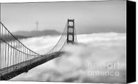 Golden Gate Canvas Prints - Golden Gate BW Fog Canvas Print by Chuck Kuhn