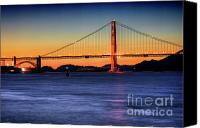 Northern California Photo Canvas Prints - Golden Gate Dusk Canvas Print by Mars Lasar