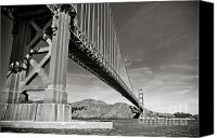 Golden Gate Bridge Tower Blue Sky Canvas Prints - Golden Gate from the Water - BW Canvas Print by Darcy Michaelchuk