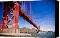 Golden Gate Bridge Tower Blue Sky Canvas Prints - Golden Gate from the Water Canvas Print by Darcy Michaelchuk