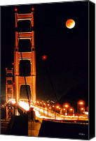 Golden Gate Canvas Prints - Golden Gate Night Canvas Print by DJ Florek