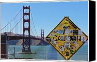 Frisco Canvas Prints - Golden Gate Stickers Canvas Print by Cedric Darrigrand