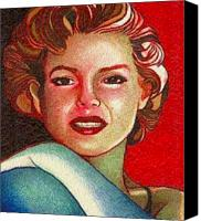 Ball Point Pen Canvas Prints - Golden Girl Canvas Print by Jerry  Stith