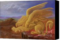 Egg Tempera Painting Canvas Prints - Golden Gryphon on Top of the Alps Canvas Print by Evelyn Cammarano
