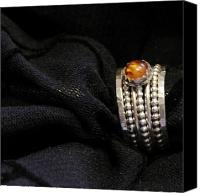 Sterling Silver Jewelry Canvas Prints - Golden Honey Baltic AMBER and stackable sterling silver bold rings Canvas Print by Nadina Giurgiu