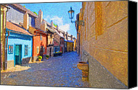 Prague Digital Art Canvas Prints - Golden Lane in Prague Canvas Print by Diane Macdonald