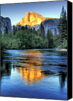 People Photo Canvas Prints - Golden Light On Half Dome Canvas Print by Mimi Ditchie Photography
