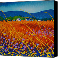 Atmospheric Painting Canvas Prints - Golden Meadow Canvas Print by John  Nolan