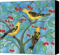 Sue Burgess Canvas Prints - Golden Orioles in a Cherry Tree Canvas Print by Sushila Burgess