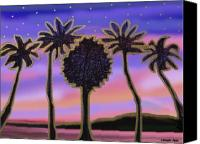Tropical Sunset Pastels Canvas Prints - Golden Palms in the Sunset Canvas Print by Sher Magins