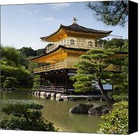 Gold Foil Canvas Prints - Golden Pavilion, A Buddhist Temple Canvas Print by Keith Levit