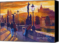 Charles Bridge Canvas Prints - Golden Prague Charles Bridge Sunset Canvas Print by Yuriy  Shevchuk
