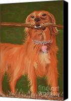 Fox Pastels Canvas Prints - Golden Retriever Joy Canvas Print by Christine Crosby