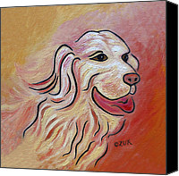 Pet Photography Painting Canvas Prints - Golden Retriever Canvas Print by Karen Zuk Rosenblatt