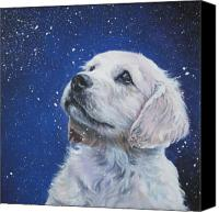 Winter Canvas Prints - Golden Retriever Pup in Snow Canvas Print by L A Shepard