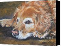 Realism Canvas Prints - Golden Retriever Senior Canvas Print by Lee Ann Shepard