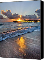 Florida Bridge Canvas Prints - Golden Shadows Canvas Print by Debra and Dave Vanderlaan