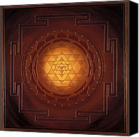 Spiritual Canvas Prints - Golden Sri Yantra Canvas Print by Charlotte Backman